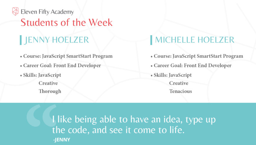 Jenny and Michelle are on a coding journey spurred on by passion.